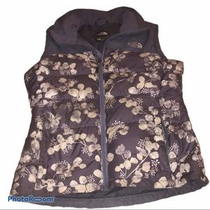 Floral North Face puffy vest